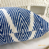 Navy Blue and White Ikat pillow cover - Chevron pillows - Designer fabric pillows - Julie Butler Creations