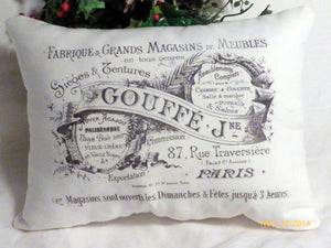 Paris pillow - Vintage French Pillow - Decorative Throw Pillow - French Country Decor - Julie Butler Creations