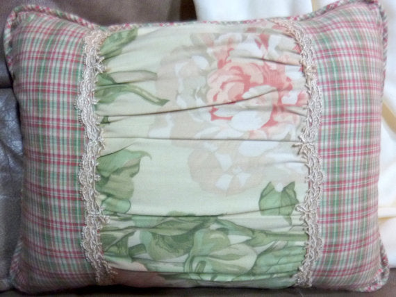 Accent Pillows - Designer Pillow - Pillows - Sofa Pillow - Waverly fabric - peach Peonies on cream - Julie Butler Creations