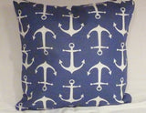 Nautical Pillow Cover - Premier Prints Sailor Slub fabric - Navy White Anchors - Beach house decor - Julie Butler Creations