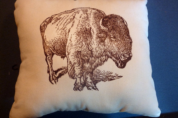 Decorative Bison Pillow - Buffalo pillow - 12x12 - Bison- animal pillow - Pillows - Julie Butler Creations