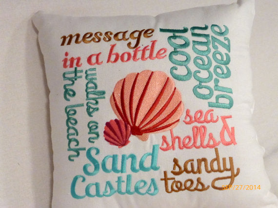 Nautical Word Pillow - Embroidered pillow - accent pillows -Beach house decor - Julie Butler Creations