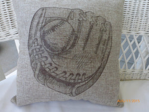 Baseball Pillows - Burlap pillows - Baseball glove - Boys room decor - baseball decor - Julie Butler Creations