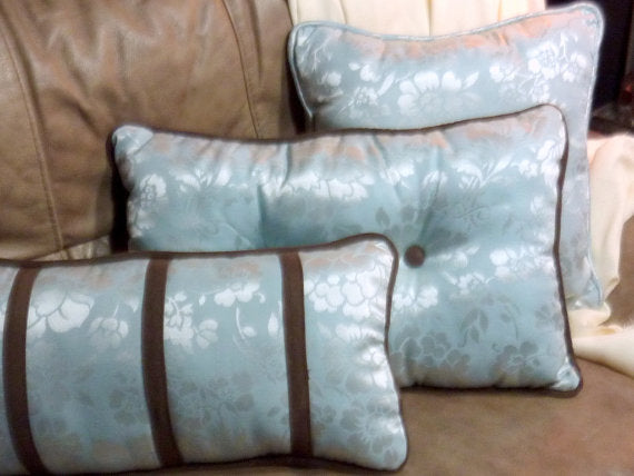Damask Pillows - accent pillows - Light blue and brown Pillows - Pillow sets - set of 3 - Julie Butler Creations