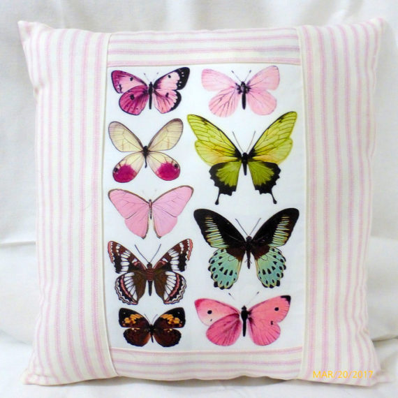 Decorative Butterfly Pillow - French Ticking Pillow Cover - French Country decor - butterfly pillow - Julie Butler Creations