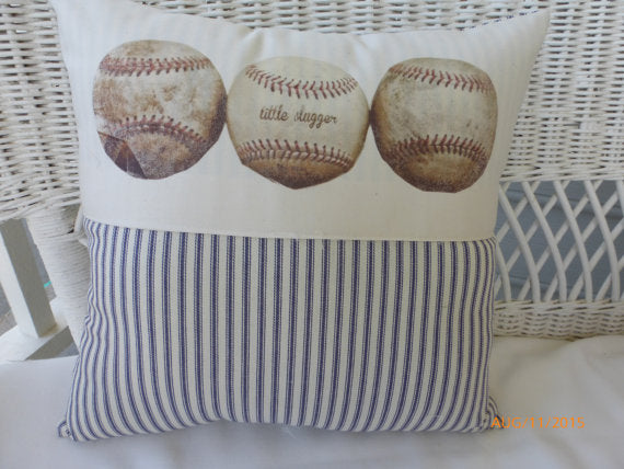 Baseball Pillow - Blue Stripe - sports pillow - Boys room decor - baby boys nursery pillow