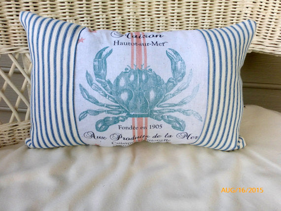 Blue Crab pillow - Paris pillow - Decorative Throw Pillow -Nautical pillow - Blue and White - Julie Butler Creations