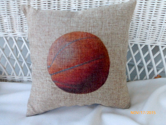 Basketball Pillows - Burlap pillows - Vintage sports pillows - Boys room decor