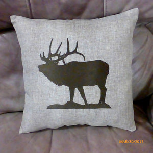 Embroidered Elk pillow - burlap pillow - animal pillow - Pillows - wildlife pillow - Julie Butler Creations