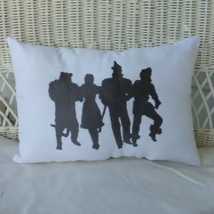 Wizard of OZ Pillow - Burlap pillow - Embroidered pillow - Accent Pillow - Silhouette pillows