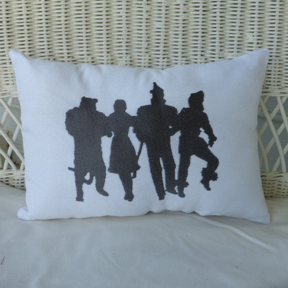 Wizard of OZ Pillow - Burlap pillow - Embroidered pillow - Accent Pillow - Silhouette pillows - Julie Butler Creations