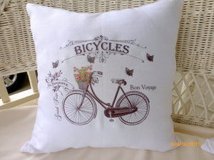 French Bicycle Pillow cover - Accent pillow - Vintage Bicycle - French country decor - French Pillow - Julie Butler Creations