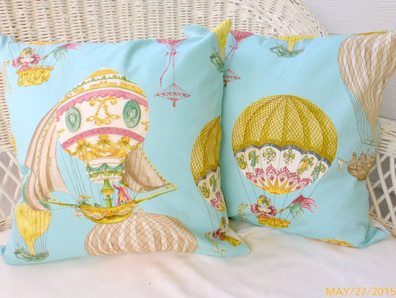 Waverly pillow cover - Hot Air Balloon cover - Throw pillow - accent pillow cover - Julie Butler Creations