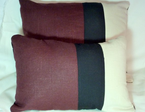 Linen Pillow Covers - Color blocked linen pillows - Burgundy and Black - Julie Butler Creations