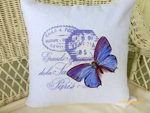 White Linen Pillow Cover - Vintage French Postcard - Butterfly pillow covers - French country decor