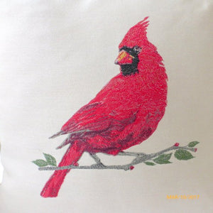 Cardinal Pillow cover - Extra Large floor pillows - Bird Pillows - 24x24 floor cushion cover - Julie Butler Creations