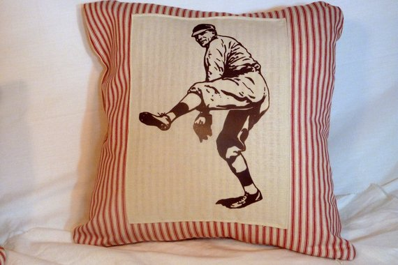 Baseball Pillow - French Ticking Pillow Cover - Vintage Baseball player - sports pillow cover