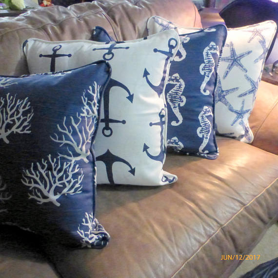 Nautical Pillow covers Set of 4 - Navy Blue and White - Premier Prints designer fabric - corded edge - Julie Butler Creations