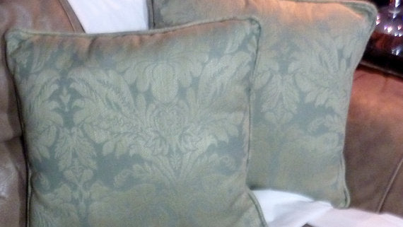 Set of 2 Decorative Pillows - Pillows - Sofa Pillows - Accent Pillows - dusty aqua damask pillows
