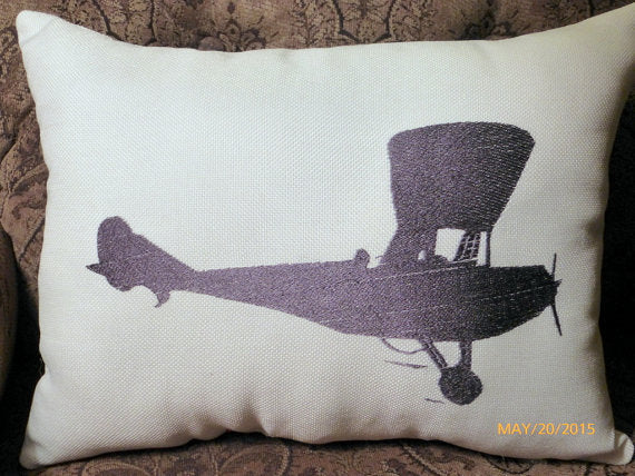 Airplane Pillow - Burlap pillow - Embroidered Airplane pillow - Accent Pillow