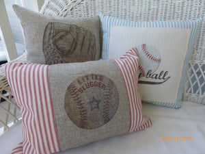 Little Slugger Baseball Pillow - sports pillow - Boys room decor - baby boys nursery pillow - Julie Butler Creations