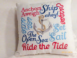 Nautical Word Pillow - Embroidered pillow - 12x12 Nautical pillow - decorative accent pillows - Julie Butler Creations