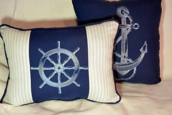 Nautical Pillows Set of 2 - Navy blue and white Embroidered pillows. - accent pillows - Julie Butler Creations