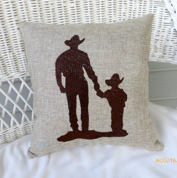 Cowboy Burlap pillow -Father and son - Fathers Day gift - Embroidered pillows - Burlap pillows - Julie Butler Creations