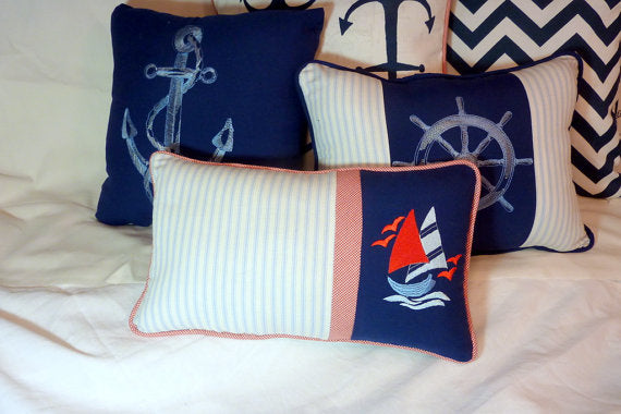 Sail boat pillow - Nautical Pillow - Embroidered pillow - decorative accent pillows - Julie Butler Creations
