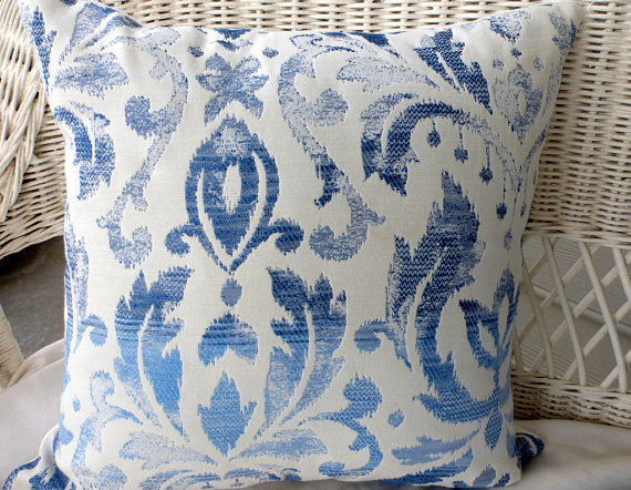 Ikat Tapestry Pillow Covers - Blue and white - Richloom fabric - Tapestry Pillows -Ikat pillows - Julie Butler Creations