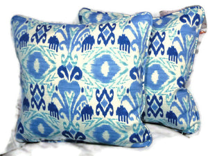 Indoor/Outdoor Ikat Pillow Covers in shades of blue - Richloom Solarium in sky - set of 2 - Julie Butler Creations