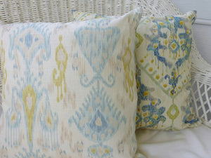 Ikat Pillow Cover - Robert Allen Ikat in Glacier - linen Rayon blend -accent pillows - Julie Butler Creations