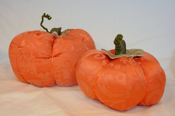 Decorative Damask Pumpkins - Thanksgiving Table - Orange Damask - Stuffed Pumpkins - centerpiece - Julie Butler Creations