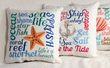 Nautical Pillows - Embroidered pillow -accent pillows - Beach house pillow - Julie Butler Creations
