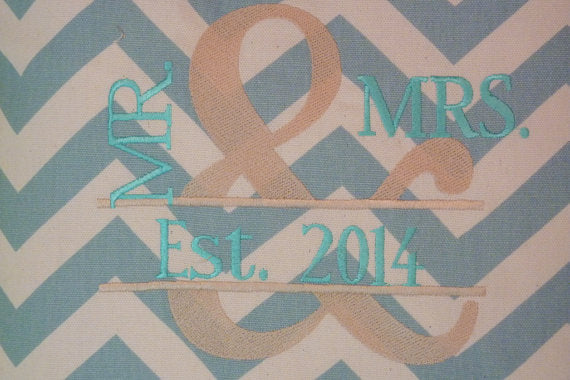 Embroidered Wedding pillow cover - Mr. an Mrs. pillow - Chevron pillow- Anniversary Pillow - Julie Butler Creations