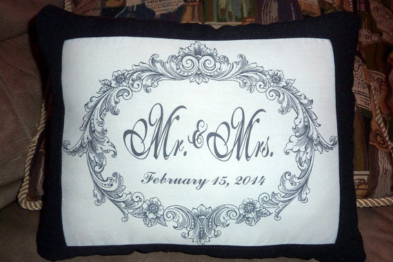 Personalized wedding pillow - Mr. an Mrs. Pillow - Decorative Pillow - Wedding or Anniversary Gift - Julie Butler Creations