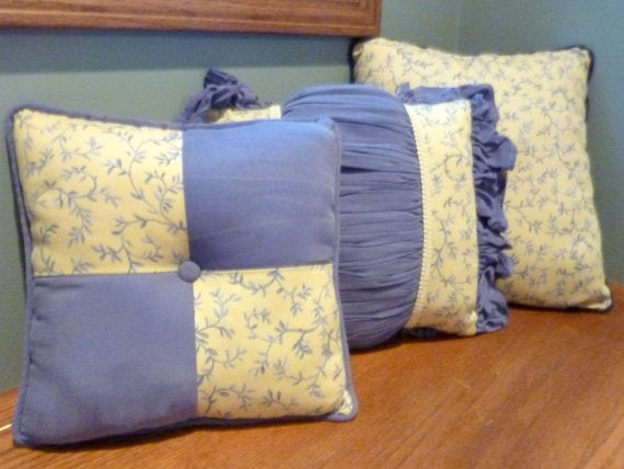 Blue and Yellow pillows - Pair of Decorative Pillows - Waverly fabric - Accent pillows - pillows - Julie Butler Creations