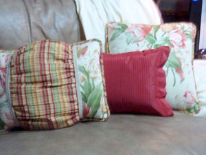 Designer Pillows - Waverly fabric - Pillows - Tulip pillows- corded edges - set of 3 - Julie Butler Creations