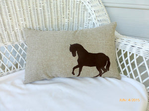 Burlap Embroidered Horse pillow - animal pillow - Pillows - Burlap pillows - Equestrian pillow - Julie Butler Creations