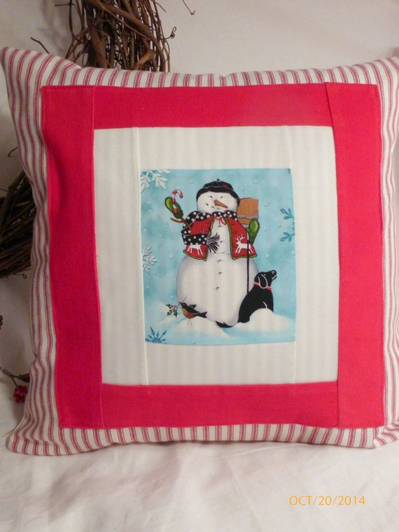 Black Lab pillow - Decorative Snowman Pillow Cover - Black Lab winter pillow - pillow cover - Julie Butler Creations