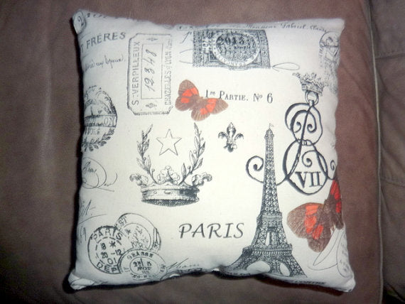 Accent pillows - Paris pillows - sofa pillows - Premier Prints French Stamp - Decorative Pillows - Julie Butler Creations