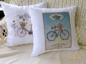 Bike Accent pillows - White Linen Pillow Covers - Vintage Bicycle - French country decor - Julie Butler Creations