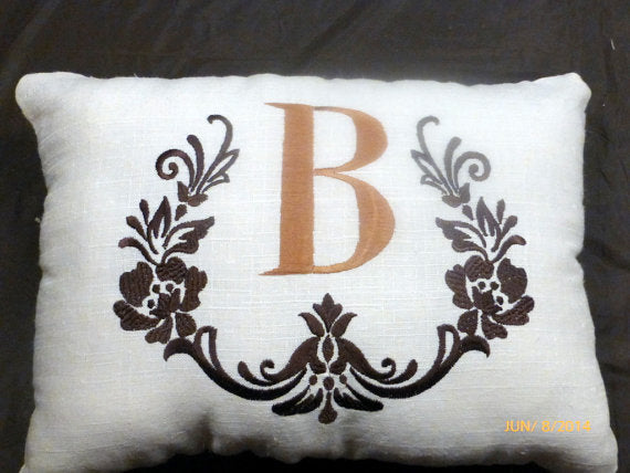 Monogrammed Pillow - Decorative Embroidered Pillow - Natural Linen - Personalized Wedding Gift