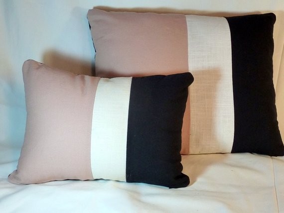 Set of 2 color blocked Linen Pillow Covers - linen pillows -Rose Blush, White and Black