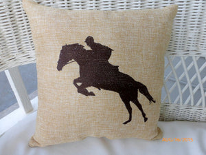 Equestrian pillow - Embroidered Burlap Horse pillow - Burlap pillow - Equestrian rider - Julie Butler Creations