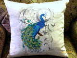 Embroidered Peacock Pillow Cover - Premier Prints - Eiffel Tower - French Country Decor - Julie Butler Creations