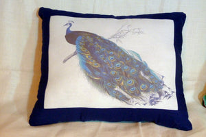 Linen Peacock pillow - Peacock Pillow - Vintage French Pillow - Decorative Throw Pillow - Julie Butler Creations