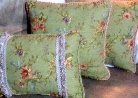 Sage Green Pillows - Pillows - accent pillow - sofa pillow - corded edge and looped fringe trim