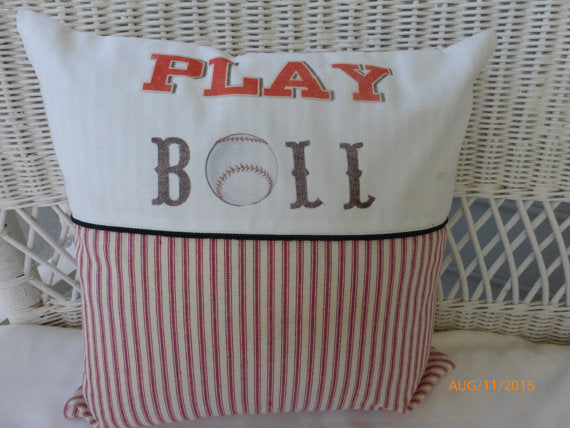Play Ball Baseball Pillow - Red Stripe - sports pillow - Boys room decor - baby boys nursery pillow - Julie Butler Creations