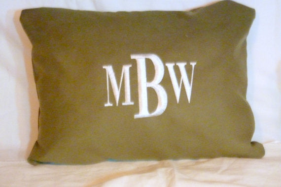 Monogrammed Pillow Cover - Decorative Embroidered Pillow - Sage Green suede cloth fabric - Julie Butler Creations